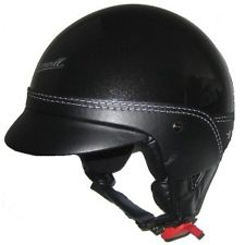 CASQUE CROMWELL MINI BOL LEGEND NOIR BRILLANT CUIR MARRON