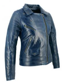 Blouson cuir SOUBIRAC Suzy bleu